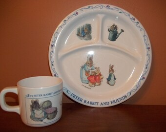 PETER RABBIT Plate and Cup / Peter Rabbit Melamine Divided Plate and Cup /
