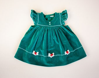 Vintage 80's Green Jewel Tone Velvet Folk Pinafore Dress / Crochet Bow Rose Appliques / Scallop Embroidery Toddler Girls 3T