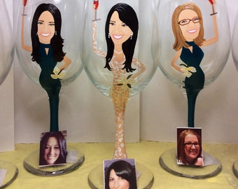 Four  Painted Caricature Bridesmaid Wine Glasses
