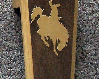 Pine Wood Western Bootjack with a Dark Oak Veneer Bronc Logo