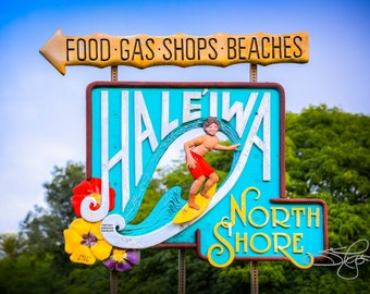 """Haleiwa Sign Print titled """"Home"""" printed on Aluminum Metal or Canvas"""