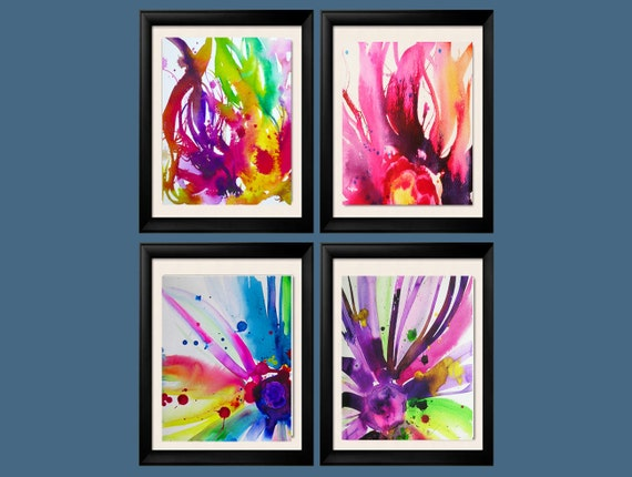 Set Of 4 Abstract Flower Art Prints Cerise By KimberlyGodfrey