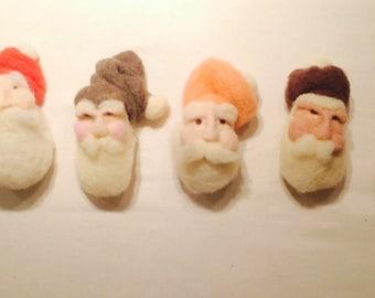 Santa set ooak needle felted ornaments
