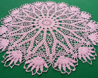 Vintage pink Crocheted round Doily crochet Tray cloth Floral pattern  table topper 70s