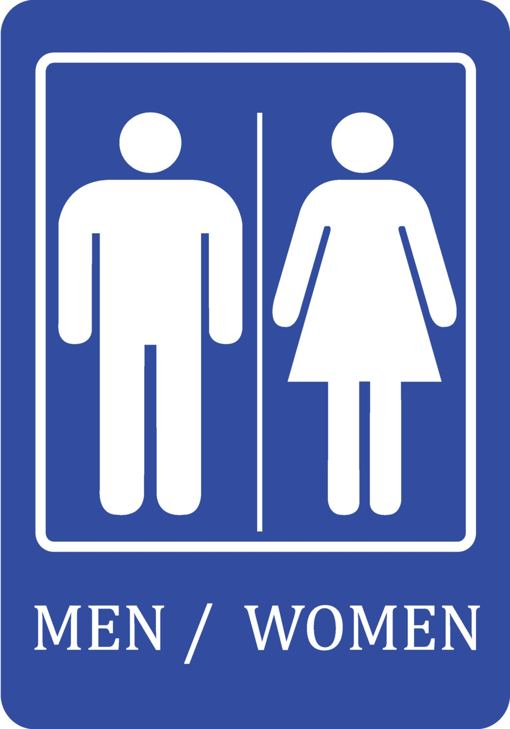 Blue Men Women Bathroom Sign Quality Sign Plastic Outdoor