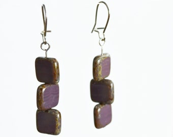 Czech Glass Dangle Earrings, Purple Square Earrings, Natural Earrings, Earthy Earrings, Everyday Earrings, Brown squares, Turquoise Squares