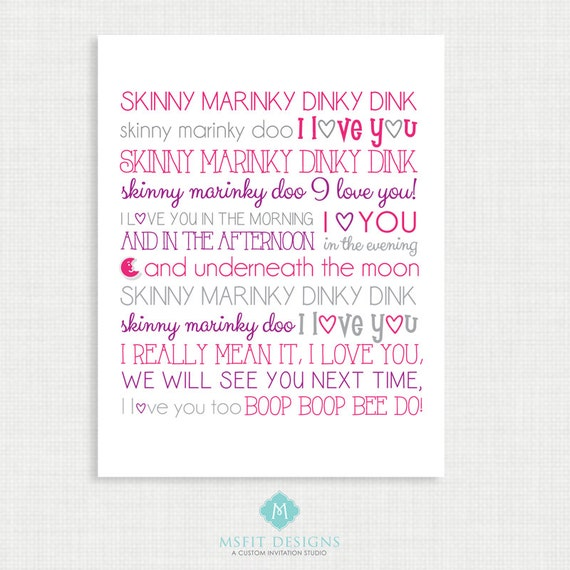 Nursery Wall Decor - Wall Art- Skinny Mirinky Dink - Nursery Rhyme - Girl Wall Decor  -11x14 instant Digital Download