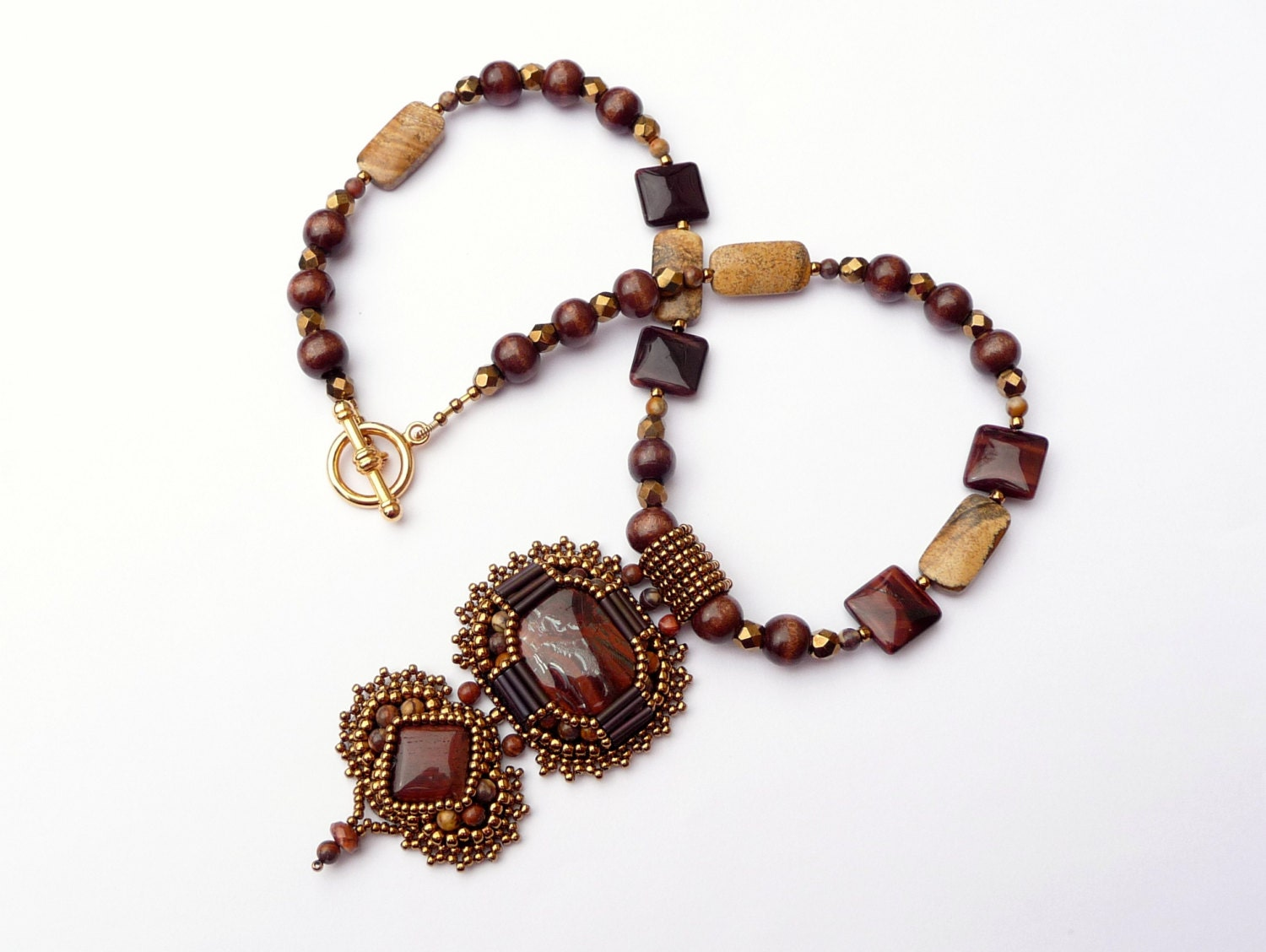 tiger eye bead embroidered necklace beaded by