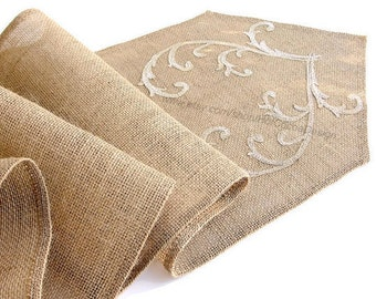 Romantic Gold Wedding Table Runner Burlap Table Runner embroidered Rustic Table Decor , Unique Wedding Linens , Handmade in the USA