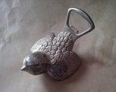 VINTAGE nickel silver bird bottle opener, metal bird beer opener, sparrow beer opener, bottle opener  (53/77/syr2)