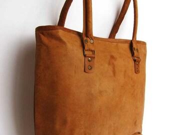 Handmade Leather Vintage Style Shopper Bag, Big Leather Bag, Tote Bag