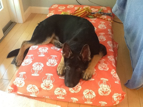 Dog Bed Cover Salmon Nautical Lobster Print By