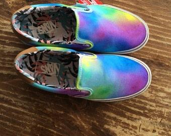 Custom Tie Dye Slip on Vans