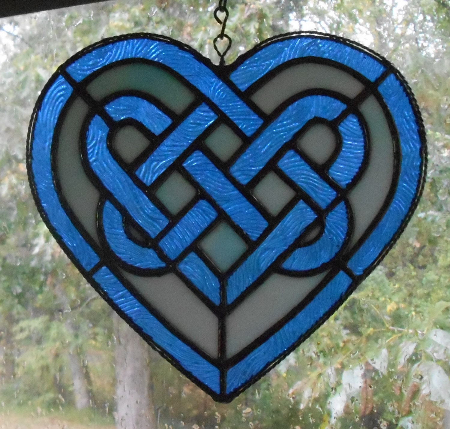 Stained Glass Celtic Knot Heart in Blue Handcrafted in the