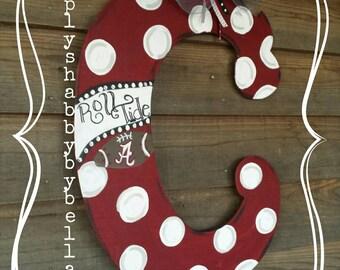 Alabama / Roll Tide Roll  Wooden Initial/Letter Door Hanger