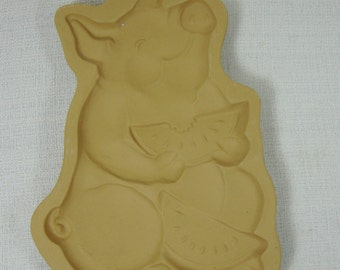 Brown Bag Cookie Art Mold Pig & Watermelon 1992 Collectible Stoneware Free Shipping