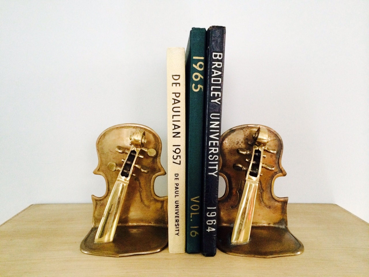 Vintage brass violin bookends - Antique brass bookends ...