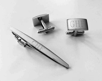 Set of One Personalized Cuff Links & Tie Clip Groomsmen Gifts Custom Cuff Links Engraved Monogrammed Tie Clip for Man-Cs54-Christmas gift