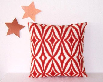 16x16 Ikat Pillow Cover, Orange Ivory Waverly Decorative Accent Pillow, Scratch and Dent Sale Throw Cushion Cover, Red Orange Pillow Sham