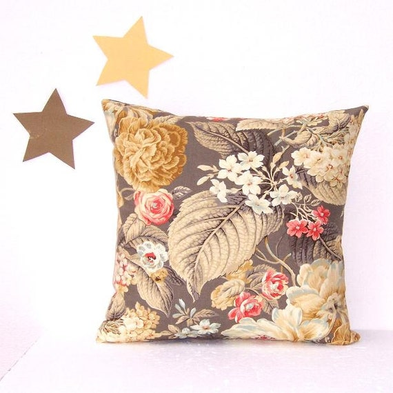 16 X 16 Gold Cream Taupe Pillow Cover Waverly Floral Flourish