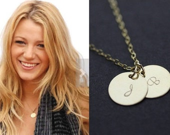 initial necklace. gold filled personalized two discs initial necklace. friendship, couple necklace. celebrity inspired necklace
