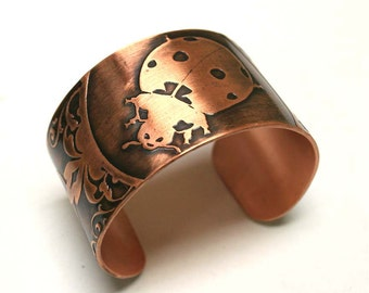 Lady Bug, Handmade Etched Copper Cuff Bracelet