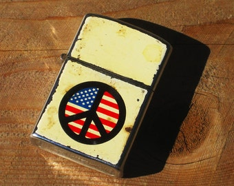 Vintage 60s USA Peace Sign Easy Rider Biker Flip Top Lighter