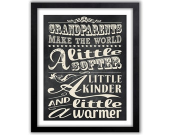 Gift for Grandparents - Chalkboard Style Art - Grandparent Wall Sign -  Gift For Grandparents - Any Size Typographic Chalk Board