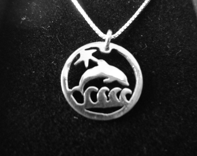 Dolfin necklace dime size w/sterling silver chain