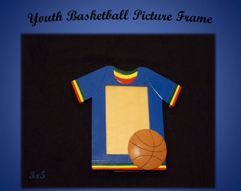 Basketball Picture Frame/Sports Picture Frame/Wooden Picture Frame/Hand Painted Picture Frame/Rasta Picture Frame/3x5 Picture Frame