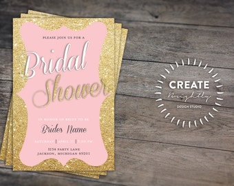 Pink and Gold Sparkle Bridal Shower Invitation. Wedding Shower Custom Printable
