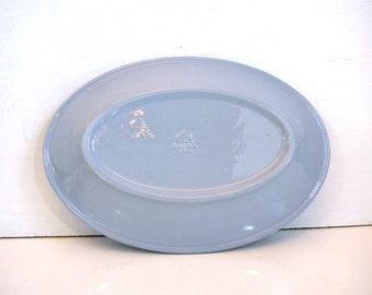 Vintage Buffalo China Platter - Blue Mid century Restaurant ware Oval Light Blue Platter circa 1959 - Buffalo China Luna