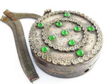 Antique Wristlet Compact with Mirror, Mesh Strap and Green Molded Glass Rhinestones