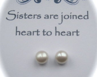 Sterling Silver Freshwater Pearl Earrings for a Sister