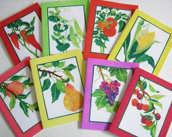 8 Fruit & Vegetable Card Set, 8 Garden Cards, Gift for Gardener, Stationery Set
