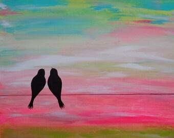 "Anniversary, Wedding or Engagement Gift / Original 24""X30"" Abstract Painting / Modern Аcrylic  Сanvas LOVE BIRDS"
