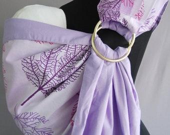 Baby Sling Ring/Baby Carrier/Reversible Baby ring Sling/Baby Wrap/Pale purple,dark purple,pink leaves