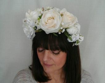 IVORY ROSES HEADBAND Bridal Headpiece