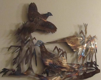 Beautiful pheasant scene featuring torched metal creating brilliant colors
