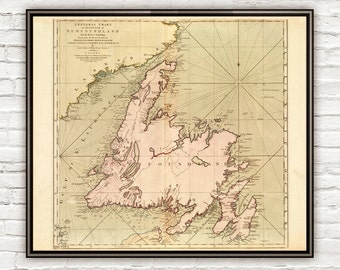 Old Map of Newfoundland Canada 1755