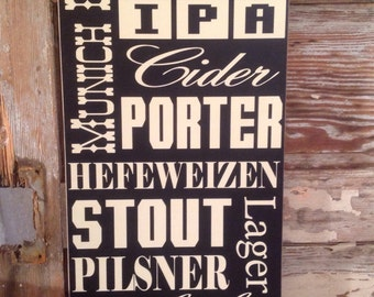 Beer Sign 12 x 24 Variety of Different Beers Wood Sign