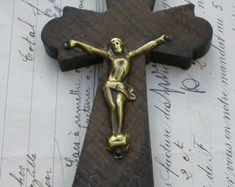 large French antique 19th century religious crucifix olive wood hand engraved gold gilt bronze religious Jesus cross gothic