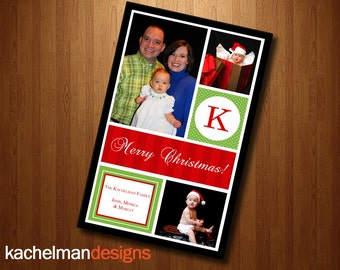 Holiday Christmas Multi Photo Card - Grid with optional initial (3 photos)