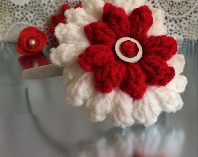 Crocheted, interchangeable flower headband sets.