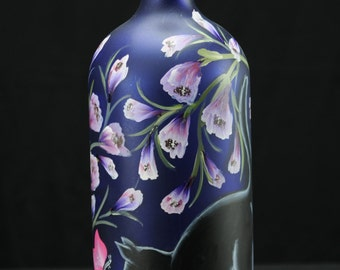 1.5 Ltr. Hand Painted Lighted Wine Bottle /Playful  Black Cat With Butterfly And Flowers In Garden on Blue Bottle