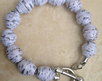 White Snow - Paper Beads Toggle Bracelet- Paper Jewelry