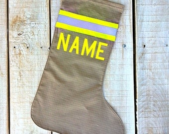 Ready to Ship Firefighter stocking ALL TAN  looks like turnout bunker gear with personalized name and YELLOW reflective, Firefighter gift