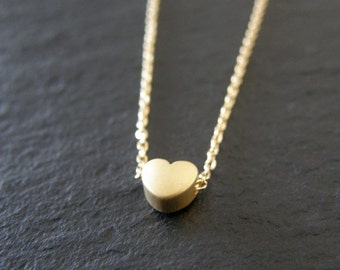 Tiny Gold Heart Necklace,  Modern, Simple, Everyday, Gift for Her, Gift for Mom, Anniversary, Bridal Jewelry