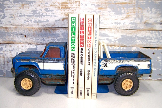 Pick Up Truck Bookends Handmade Metal Truck Book Holders Vintage Rusty Large Blue Chevrolet 4x4 Truck Library, Office Kids Room Decor at Sexy Trash & Vintage on Etsy