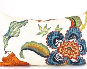 """Schumacher HOTHOUSE Flowers HOT HOUSE Flowers Designer 12"""" x 16""""  Lumbar Pillow Cover in Spark, Accent Pillow, Throw Pillow, Toss Pillow"""